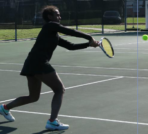 Junior Tamara Shan plays line 2 singles. She and the other members of the girls' tennis team are prepping for SPC this weekend.