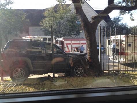 Westheimer car crash takes down fence, leaves one man injured