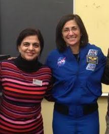 Stott poses with chemistry teacher Sarwat Jafry. Stott and Jafry are united by their love of science.