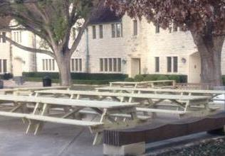Now that the cafeteria has been demolished, students must eat at picnic tables or in classrooms.
