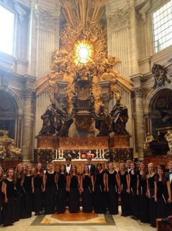 Kantorei stands in front of the altar at St. Peter's Basilica. Though the choir did not see the Pope, their performance was met with congratulations.