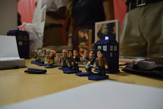 Miniature figures from the television show Doctor Who were arranged at the Doctor Who Club table.
