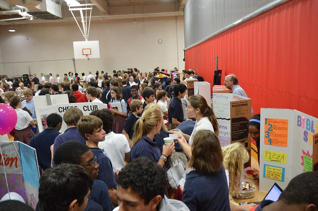 Students packed the cafeteria for Club Fair. This year, they were able to enjoy air conditioning while they signed up for student-led organizations