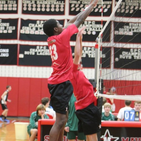 Juniors Joseph Hanson (shown here) and Hunter Hasley finished with over 12 combined blocks.