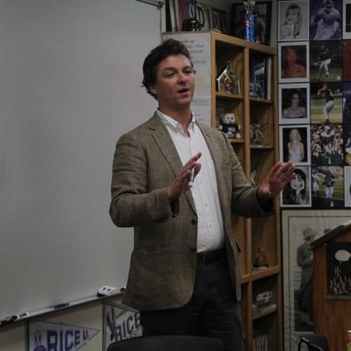 After giving a presentation in Book Fair assembly, author Donovan Hohn spoke in several classes, including Creative Writing and The Review.