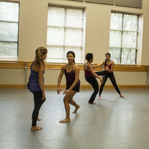 Terpsichore dancers practice a new piece during class. Choreographers must prepare their performances during their free time.