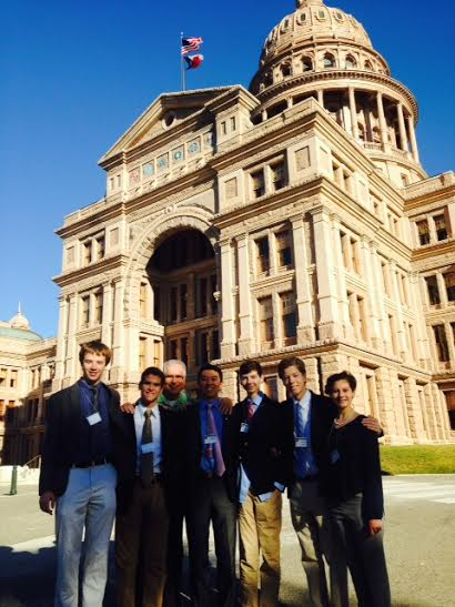 JSA members pose in front of the Texas Capitol in Austin alongside faculty chaperone Wendall Zartman.
