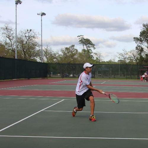 Junior Eric Gao practices his stroke. The team looks forward to SPC next week.