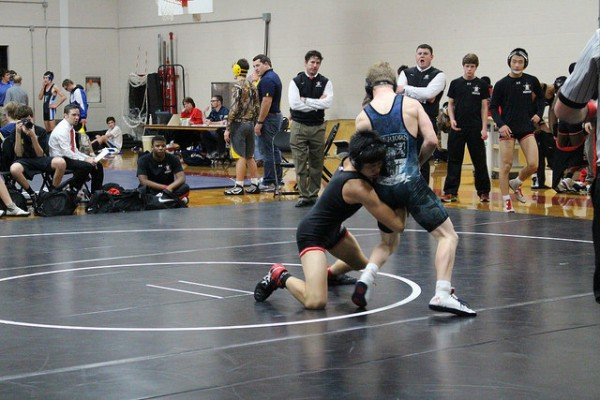 Sophomore Dani Yan wrestles with the intent to win.