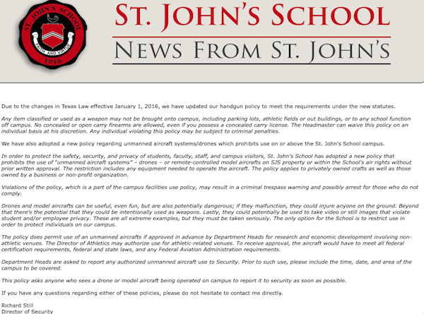 The administration sent this email to parents detailing St. John's weapons policy.