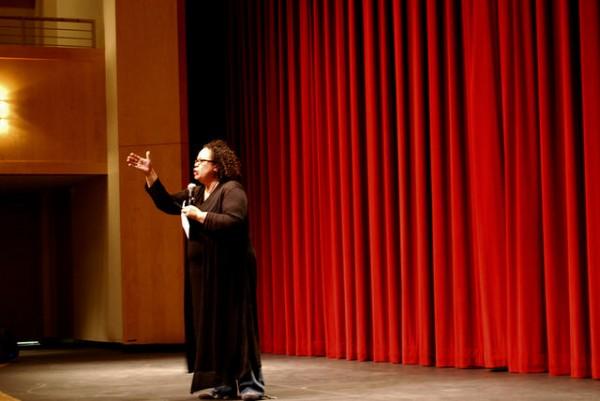 Julie Lythcott-Haims speaks passionately in an Upper School assembly.