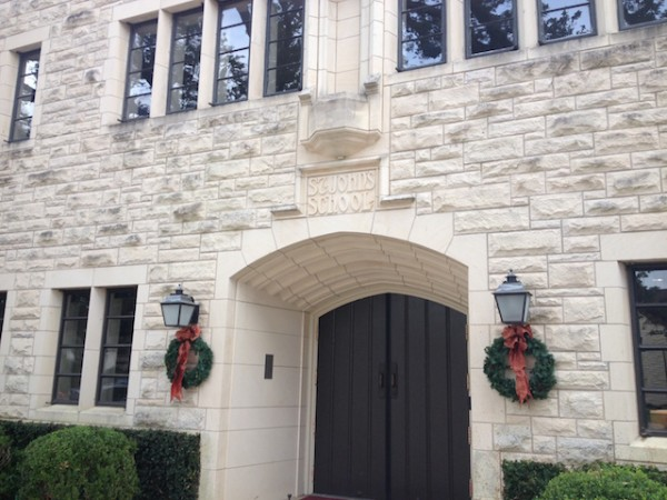 The Quad building dons wreaths to welcome back students with festivity.