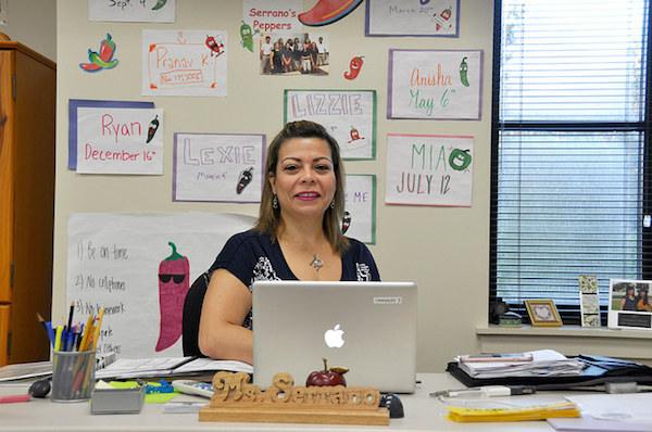 New Spanish teacher Margarita Serrano waits for her next class.