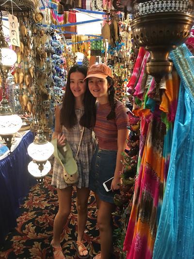 The Gorman sisters explore the Greek wares in the bazaar.
