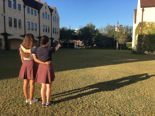 Barbara, left, and Sophia stand on the Great Lawn.