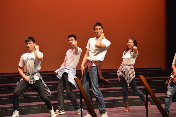 From left: Juniors Dani Yan, Andrew Wan, Gregory Dayao, and Olivia Zhang dance to K-pop.