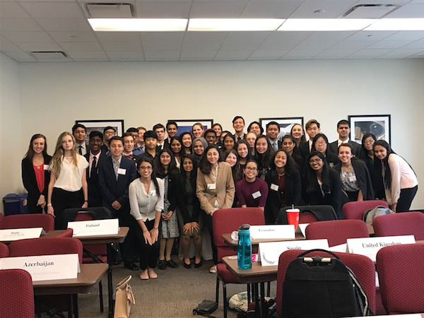 Shown is Natasha Faruqui's committee at Houston-area Model UN.
