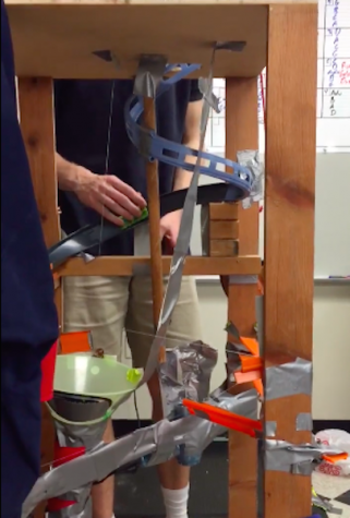 Physics students build Rube Goldberg machines