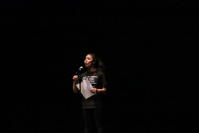 Senior Irene Vazquez performs spoken-word poetry.