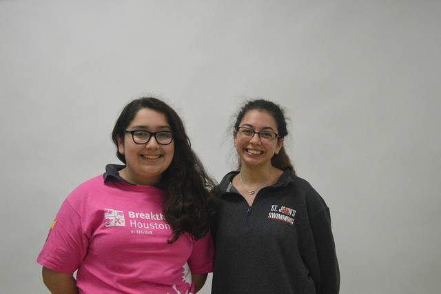 Sophomore Jackie Ferrufino and freshman Marcela Madrid, both former Breakthrough students, now teach lower income students for the same program.