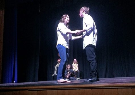 From left: Eurydice (Frances Hellums) and Orpheus (Gray Watson) share a loving moment.