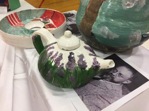Shown are freshman Mia Fares' hand-thrown ceramic pieces.