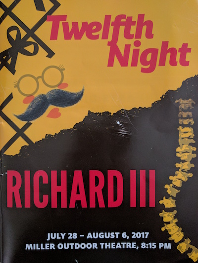 HSF presents two shows, Twelfth Night and Richard III, at Miller Outdoor Theatre this summer.