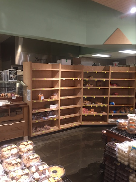 Many grocery stores ran out of in-demand items, especially water and bread.