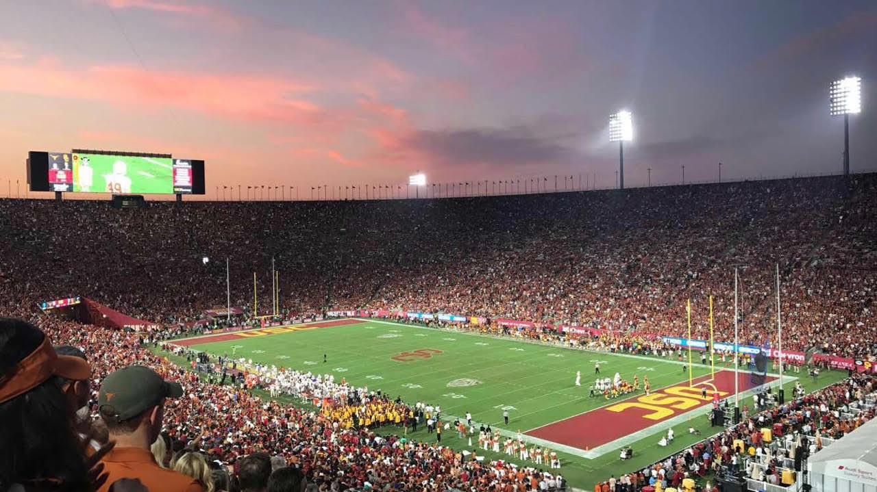 The stadium in Los Angeles was filled with Longhorns and Trojans.