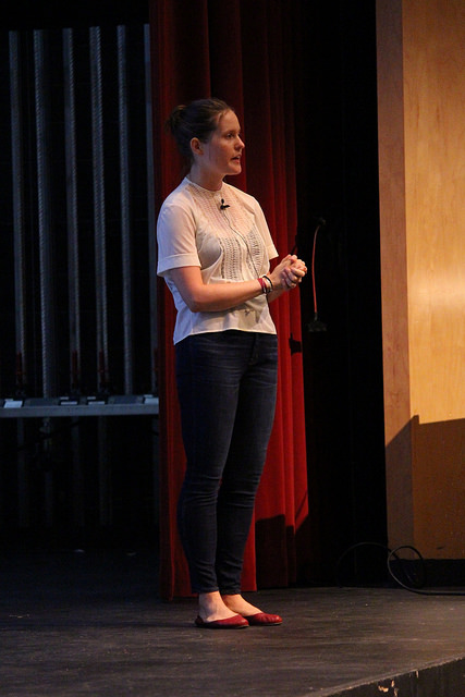 Katherine Arden ('06) spoke in Upper School Assembly about her experiences after SJS and her career as a writer.