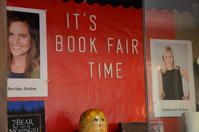 The Book Fair highlights alumni authors, who are featured in this library display.