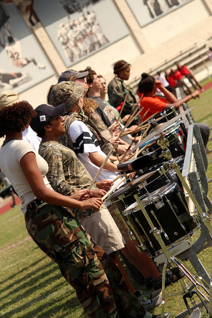 Drum Corps kept energy up by playing along with cheers and as each group entered.