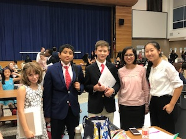 Left to right: Katya Bigman, Adam Moinuddeen, Nelson Mathis, Ananya Das, Adele Wan, Arjun Maitra (not pictured) and Olivia McCarty (not pictured) competed at the Klein Oak Junior High School Forensic Tournament.