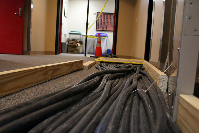 As part of the repairs to the VST, wires and cables trailed throughout the hallways of the building.