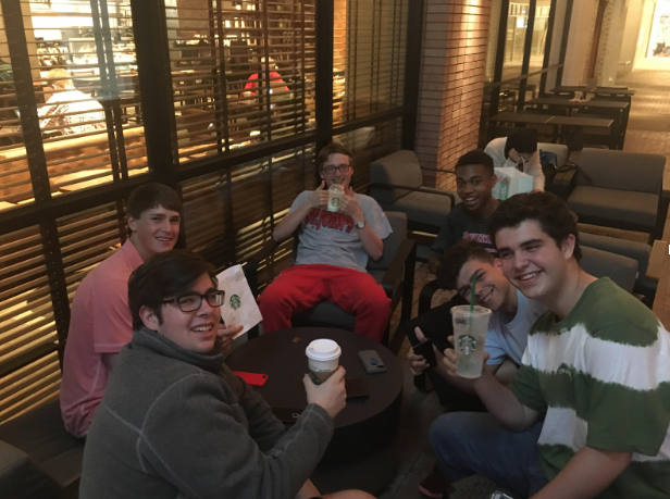 From+left%3A+seniors+Dylan+May%2C+Travis+Allday%2C+Mark+Laborde%2C+Drew+Woodfolk+and+Julien+Fenouil+enjoy+coffee+at+the+Rice+Village+Starbucks.