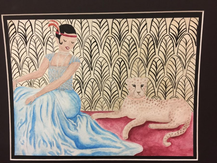 Senior Claire Furse won fifth place for her watercolor painting of Josephine Baker and her pet cheetah, Chiquita.