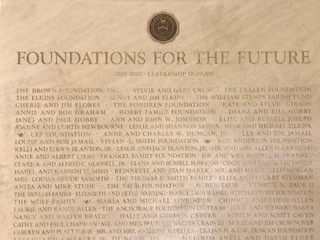 These names were etched into a section of stone in Mewbourne Hall to honor all the donors who contributed to the building.