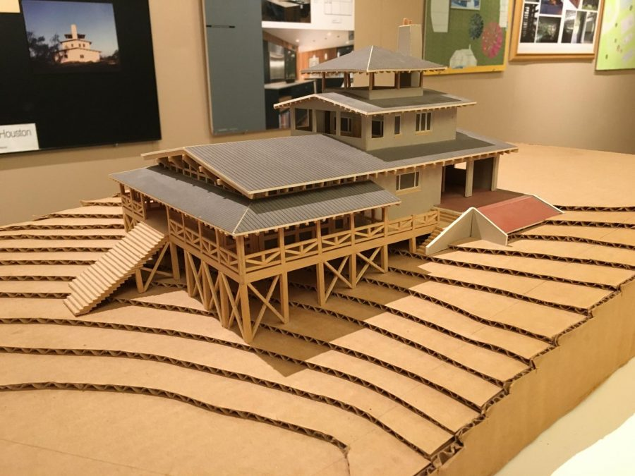 Alumni display models, photos of architecture in Glassell Gallery