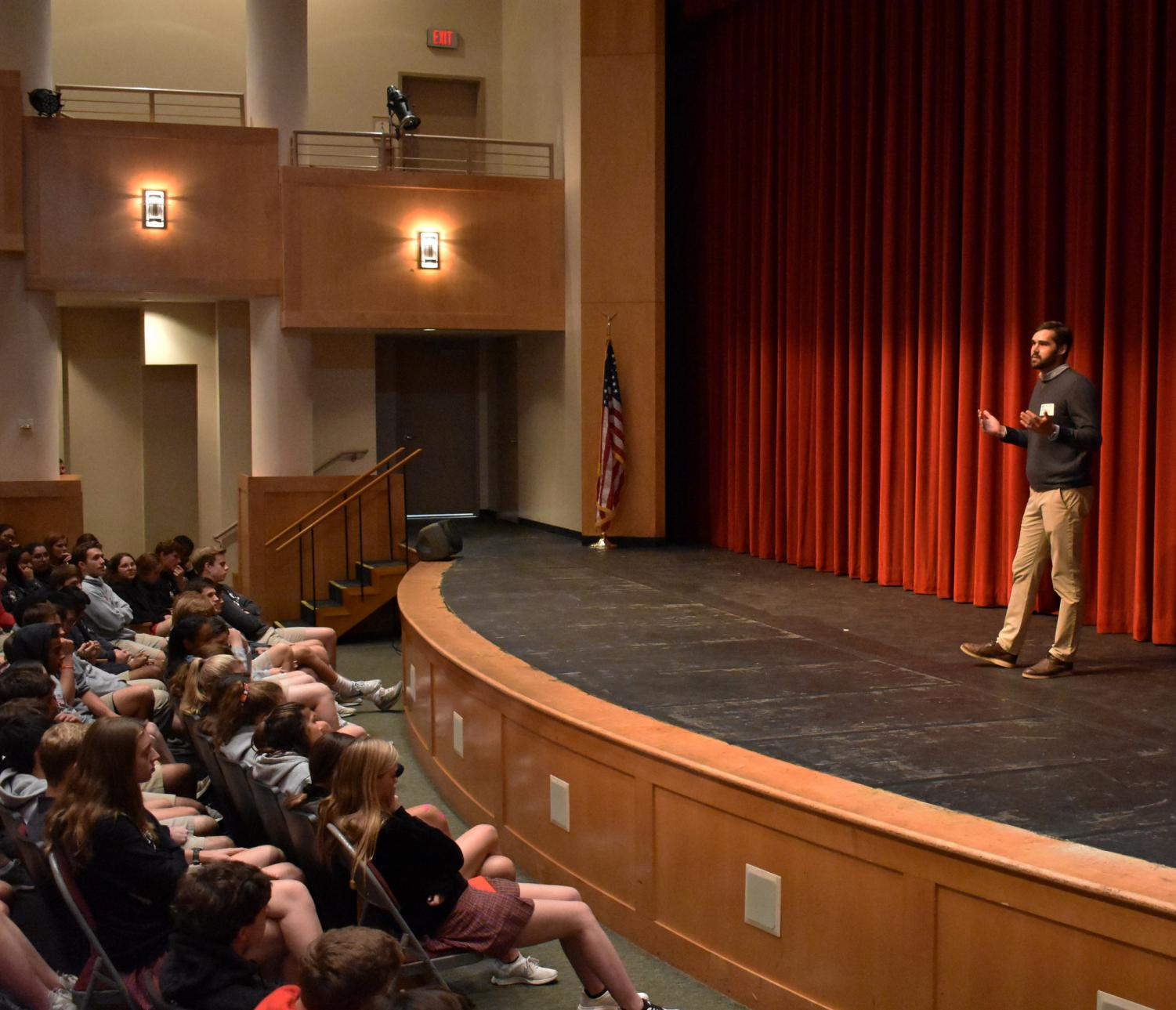 Fluor ('07) spoke to the Upper School about his experiences with addiction.