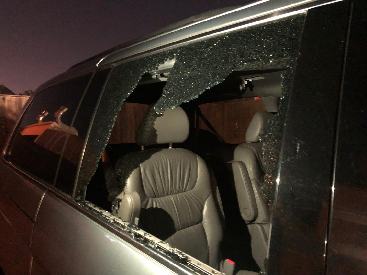 After breaking three car windows, the thief took four laptops but left the seniors' backpacks behind.