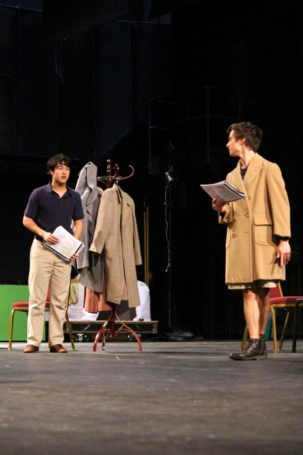 Alex Ham (Dr. Lyman) and Travis Bouchard (Carl) rehearse for 'Bus Stop,' the 2018 fall play. From