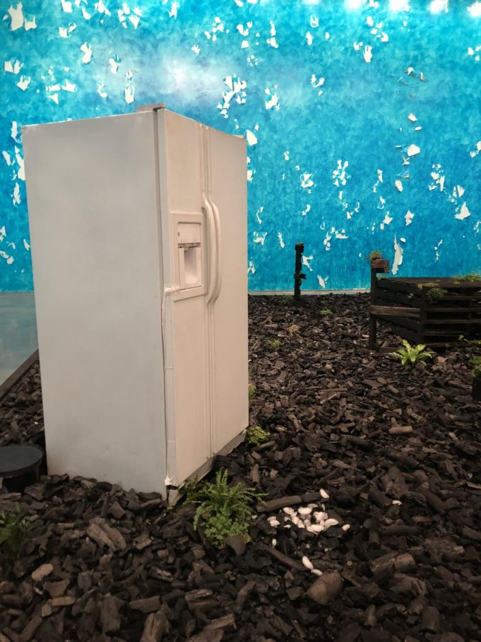 The installation features a mixture of plants and household items, like the refrigerator, which spits out an ice cube every few minutes, creating a closed circuit fountain.