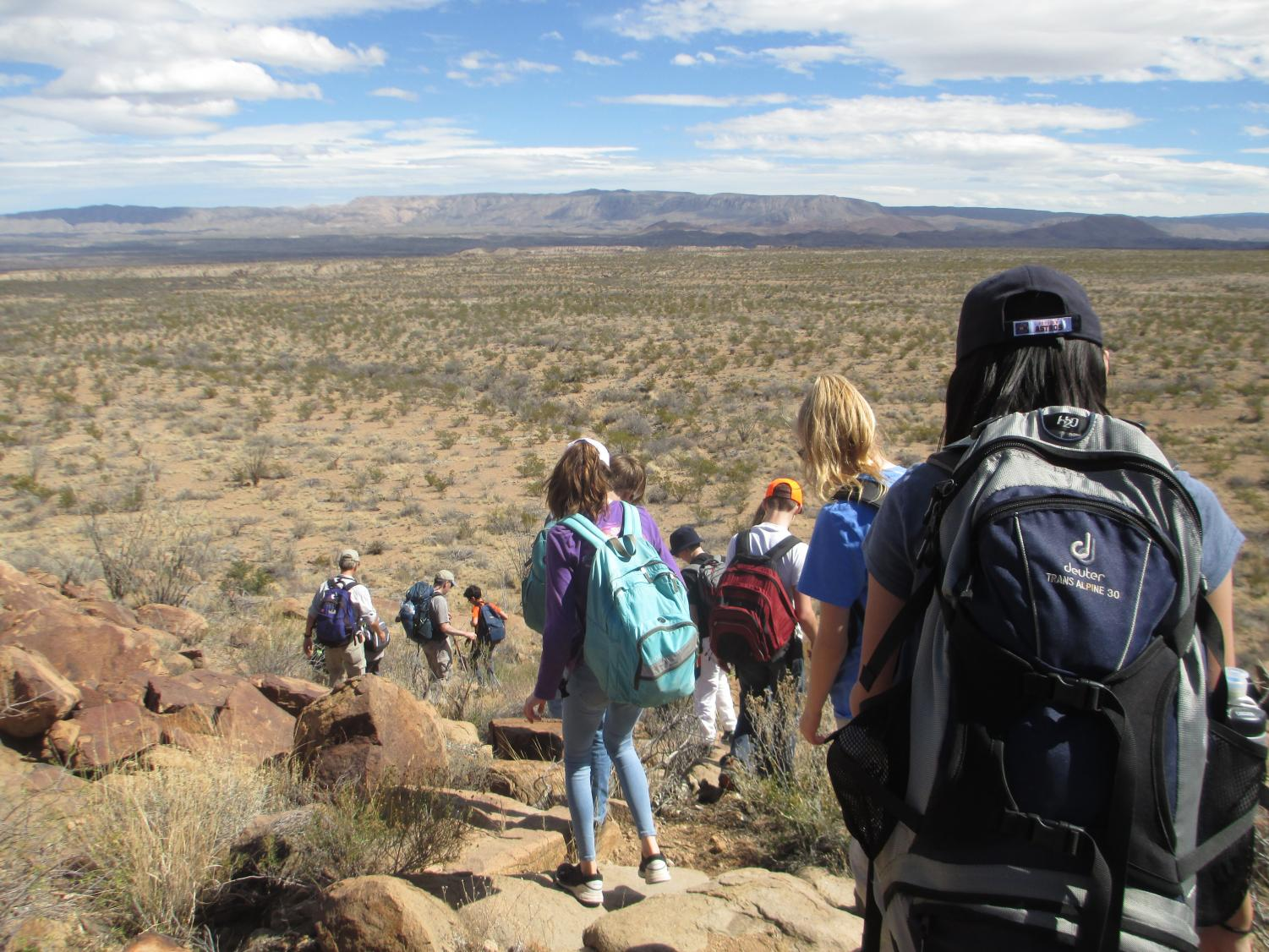 Due to the government shutdown, which began on Dec. 22, there are currently no visitor services provided in Big Bend National Park, which would impede the annual eighth grade retreat. Above, last year's eighth graders navigate down a trail in the park.