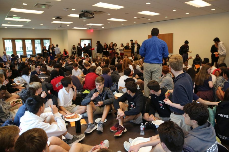Hundreds of students and faculty packed the Chao Room for the forum.