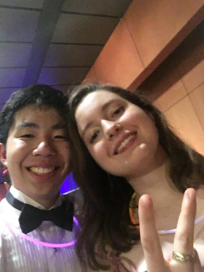 Online Editors-in-Chief Ryan Chang and Sophia Kontos take a selfie before leaving prom.