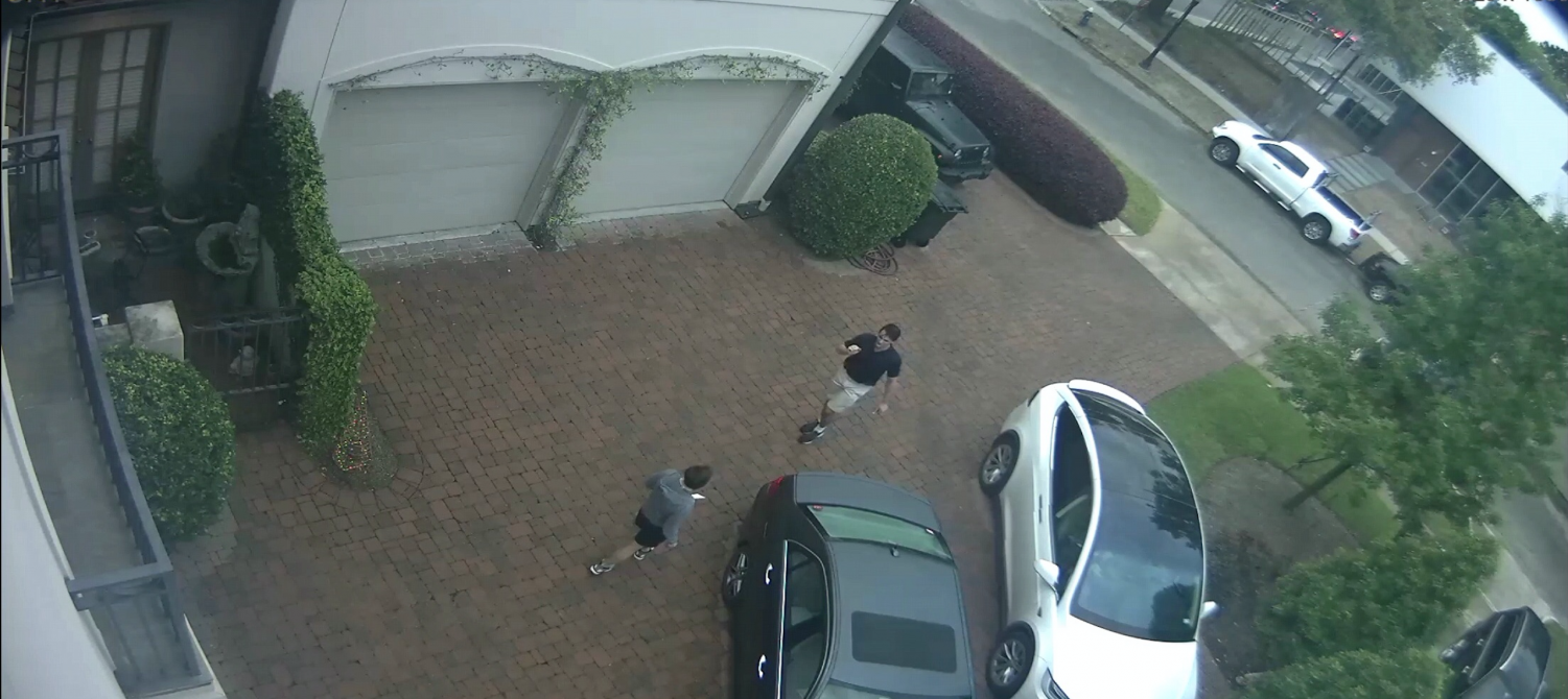 Jordan captures Gow outside of her house in surveillance footage.