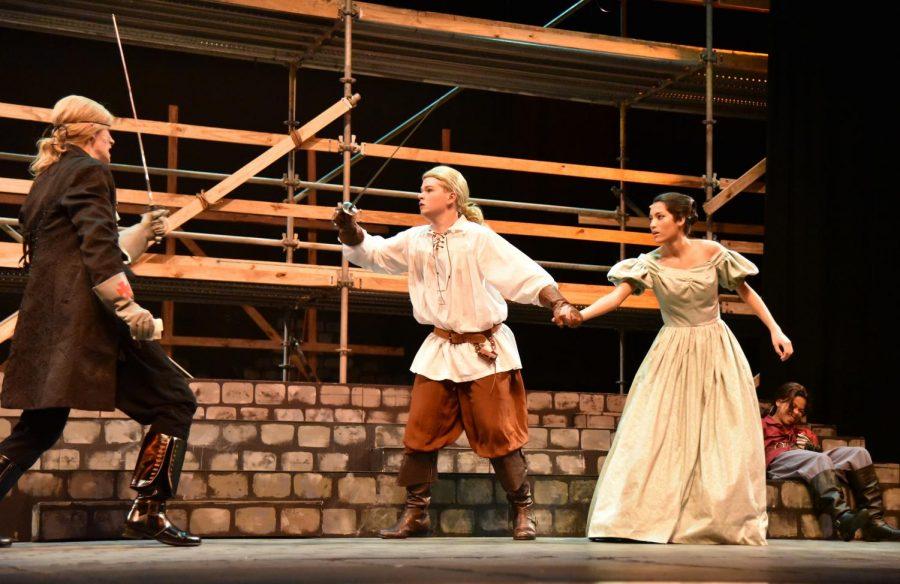 D'Artagnan (sophomore Tanner Watson, middle) defends Constance (junior Natalie Brown, right) from Count Rochefort (junior Henry Miller, left).