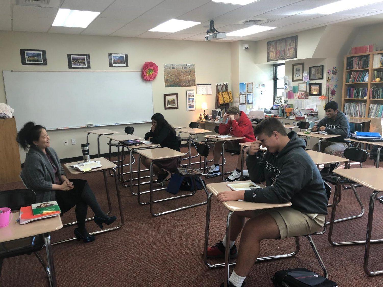 Latin teacher Kim Dickson teaches the School's first ever Latin I class.