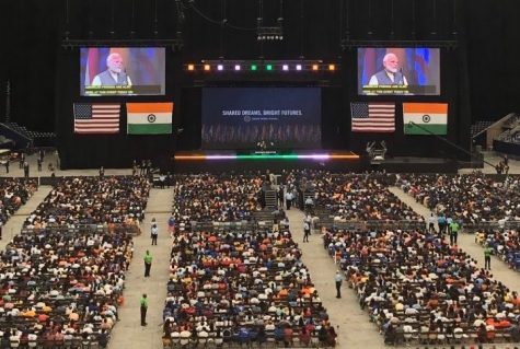 Indian Prime Minister Narendra Modi speaks to crowds at NRG Stadium.