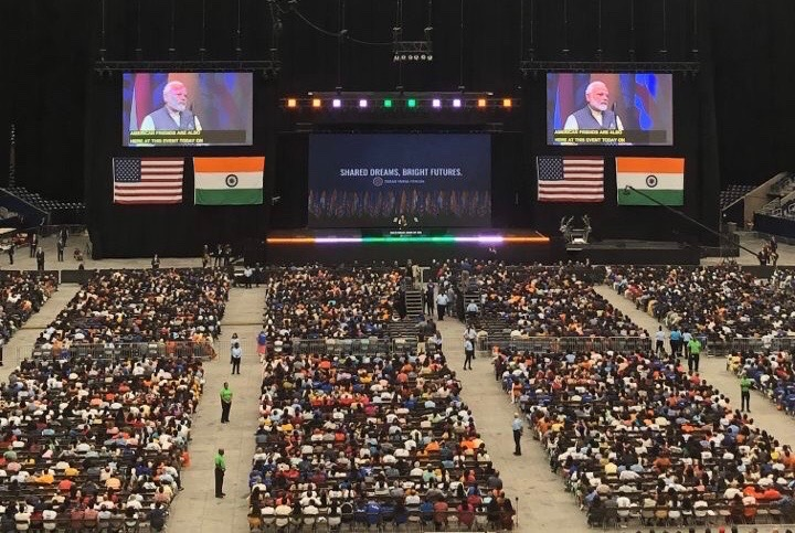 Indian Prime Minister Narendra Modi speaks to crowds at NRG Stadium.